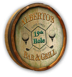 19th Hole Bar & Grill - Personalized Color Quarter Barrel Sign - Rion Douglas Gifts - 1