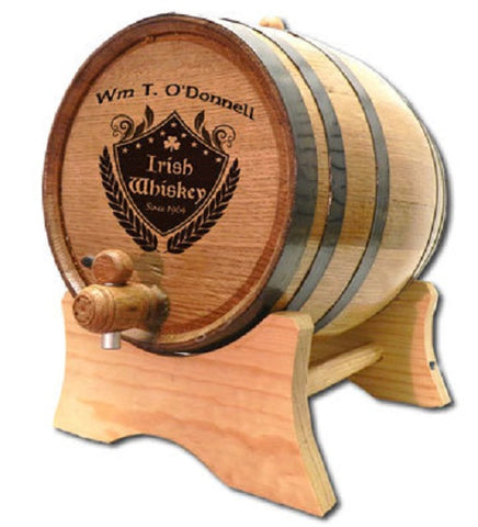Irish Crest Personalized Oak Barrel