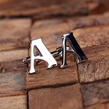 "Initials ""A-Z"" Personalized Men's Polished Stainless Steel Classic Cuff Link & Tie Clip with Wood Box - Rion Douglas Gifts - 2"
