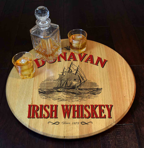 Irish Whiskey Personalized Barrel Head Lazy Susan