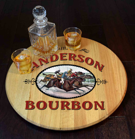 Derby Bourbon Personalized Barrel Head Lazy Susan