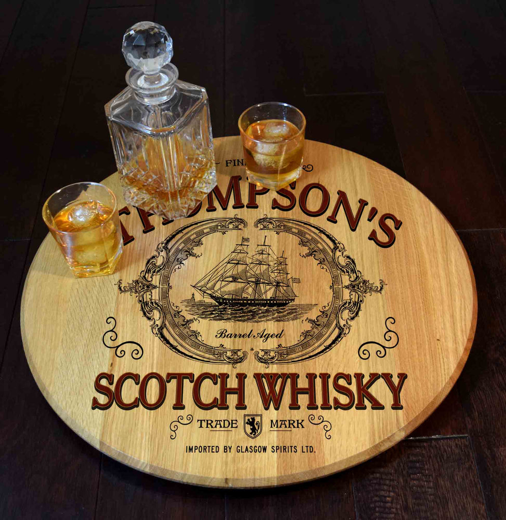 Scotch Whiskey Personalized Barrel Head Lazy Susan