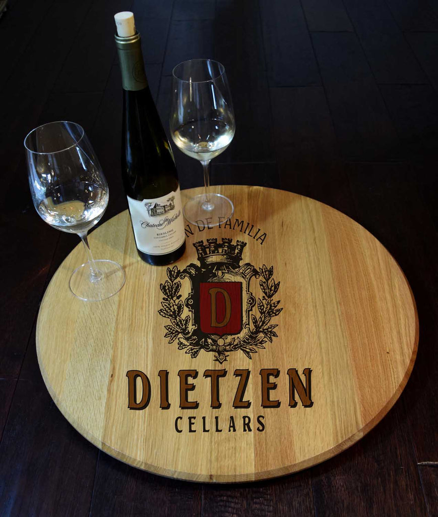 Wine Crest Personalized Barrel Head Lazy Susan