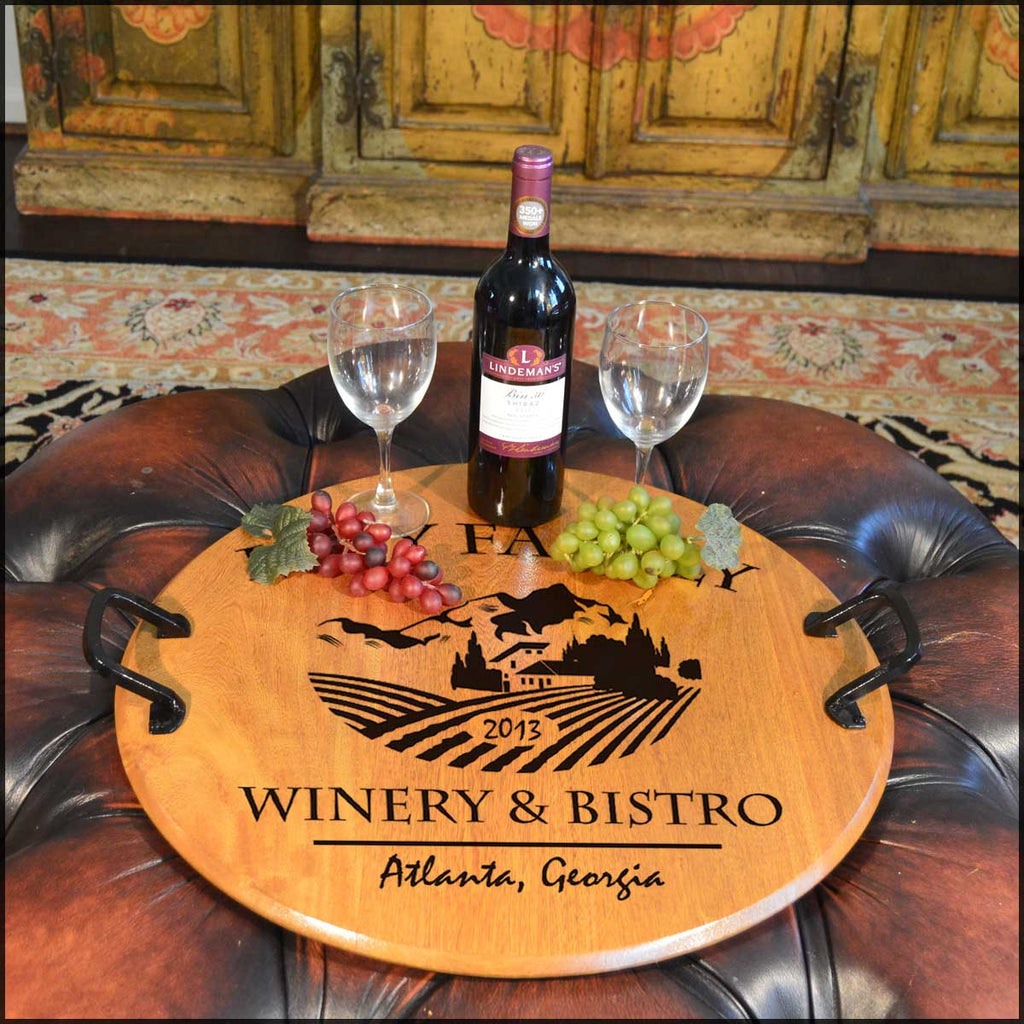 Winery & Bistro Barrel Head Serving Tray - Rion Douglas Gifts - 1