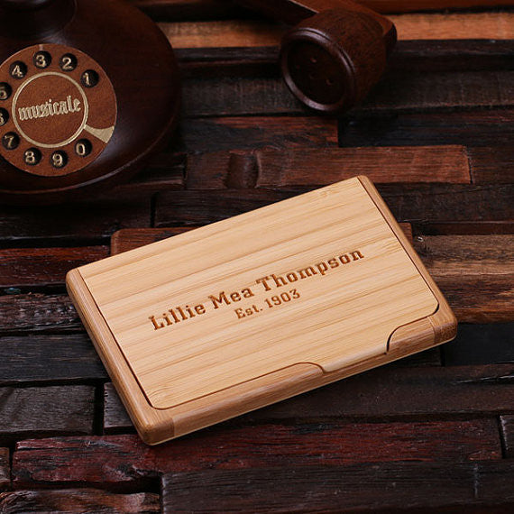 Personalized Wooden Business Card Holder - Rion Douglas Gifts - 1