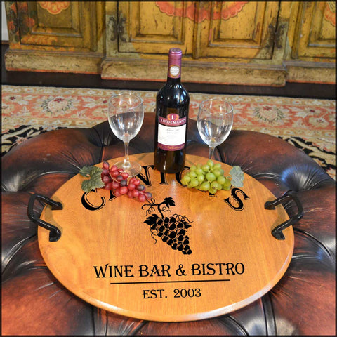 Wine Bar & Bistro Barrel Head Serving Tray - Rion Douglas Gifts - 1