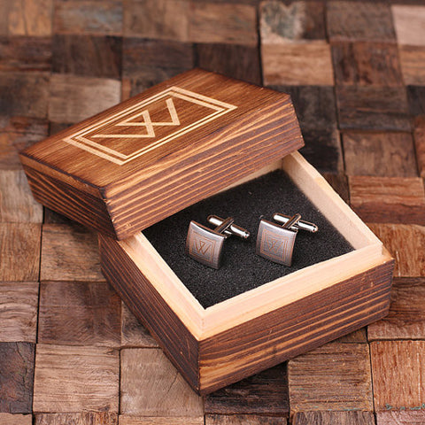 Engraved Stainless Steel Cuff Links Cufflinks – Classic Square - Rion Douglas Gifts - 1