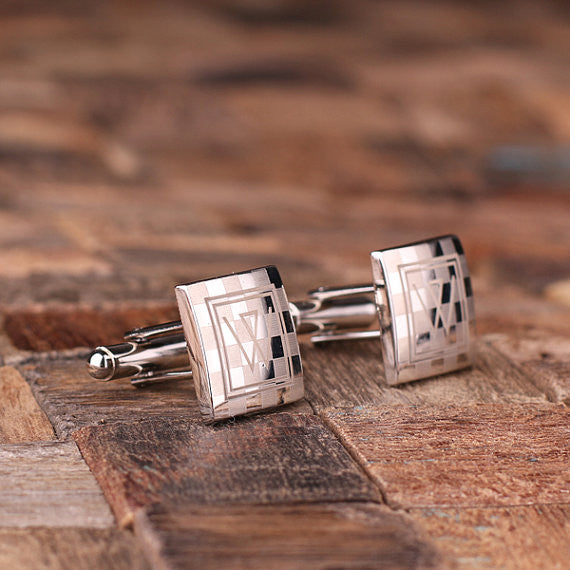 Engraved Stainless Steel Cuff Links Cufflinks – Checkered Monogram - Rion Douglas Gifts - 2