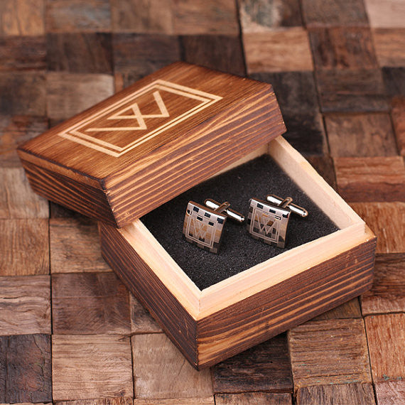 Engraved Stainless Steel Cuff Links Cufflinks – Checkered Monogram - Rion Douglas Gifts - 1