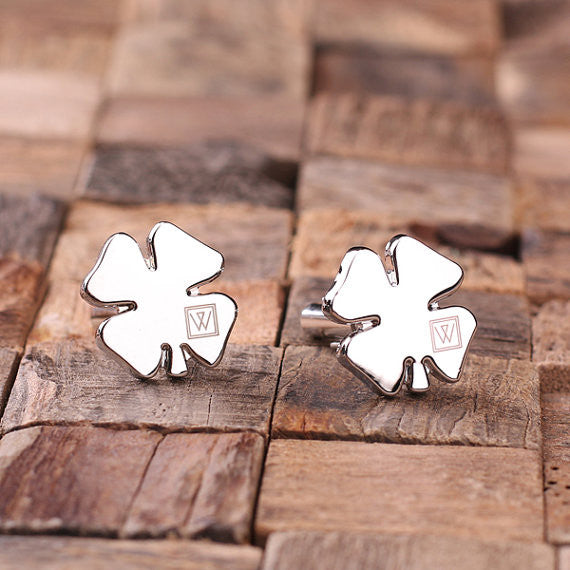 Engraved Stainless Steel Cuff Links Cufflinks – Shamrock - Rion Douglas Gifts - 2