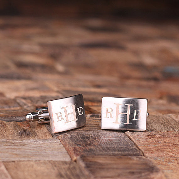 Engraved Stainless Steel Cuff Links Cufflinks – Classic Monogram - Rion Douglas Gifts - 2