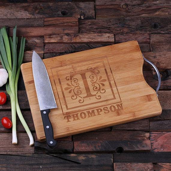 A Personalized Cutting Board with Steel Handle - Rion Douglas Gifts - 2