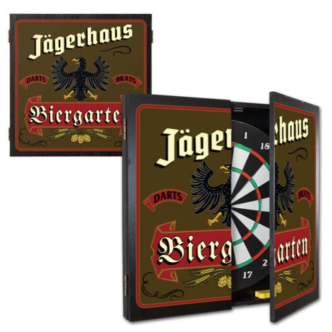 2 Game Personalized Dartboard and Cabinet Set - Biergarten