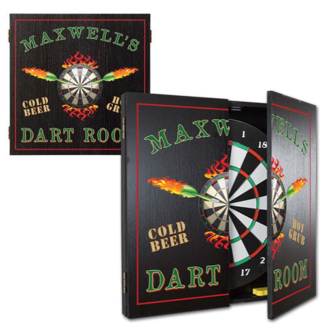 2 Game Personalized Dartboard and Cabinet Set - Dart Room