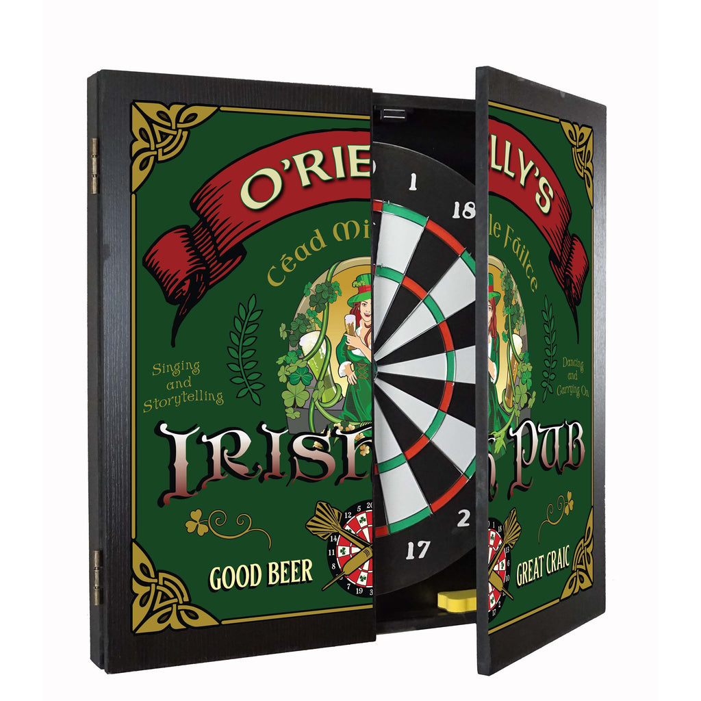 Personalized Dart board and Cabinet Set