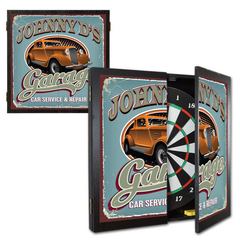 2 Game Personalized Dartboard and Cabinet Set - Garage