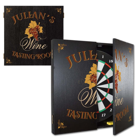 2 Game Personalized Dartboard and Cabinet Set - Tasting Room
