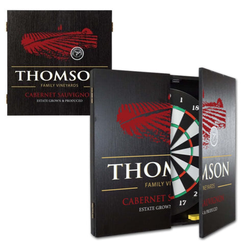 2 Game Personalized Dartboard and Cabinet Set - II Vineyard