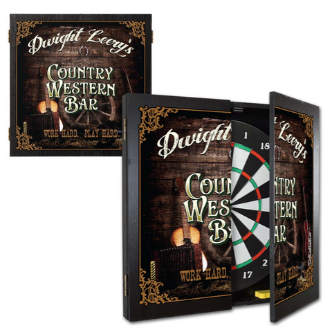 2 Game Personalized Dartboard and Cabinet Set - Country Western Bar