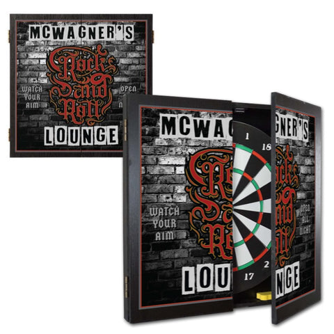 2 Game Personalized Dartboard and Cabinet Set - Rock n Roll