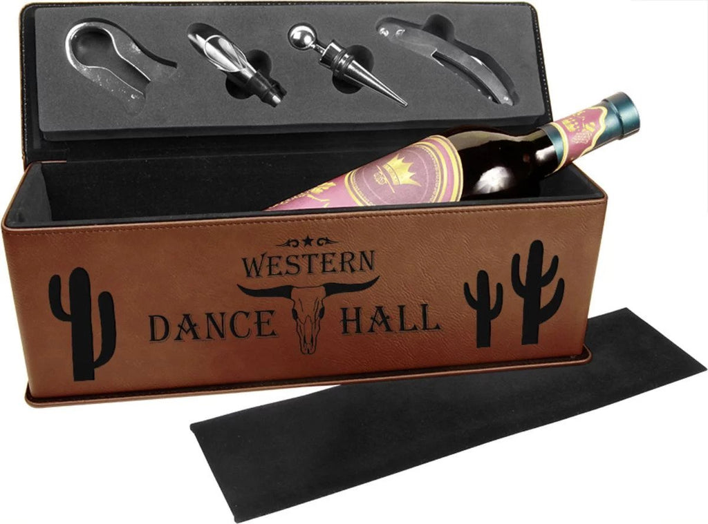 Custom Personalized Leatherette Wine Box with Tools