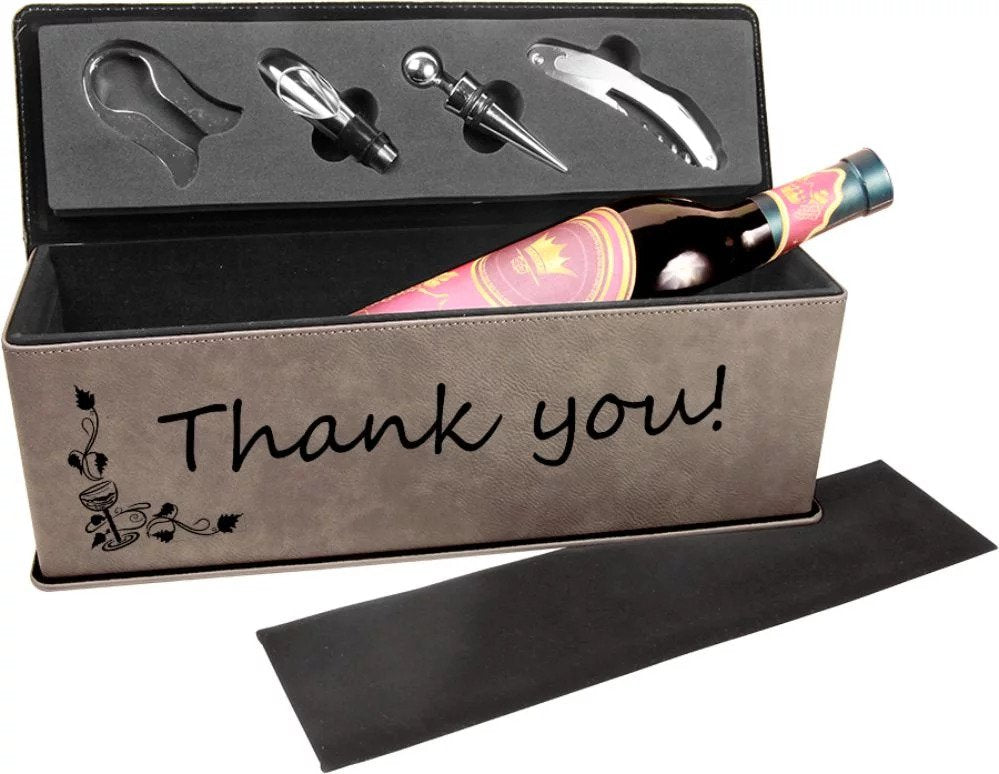 Personalized Leatherette Wine Box with Tools