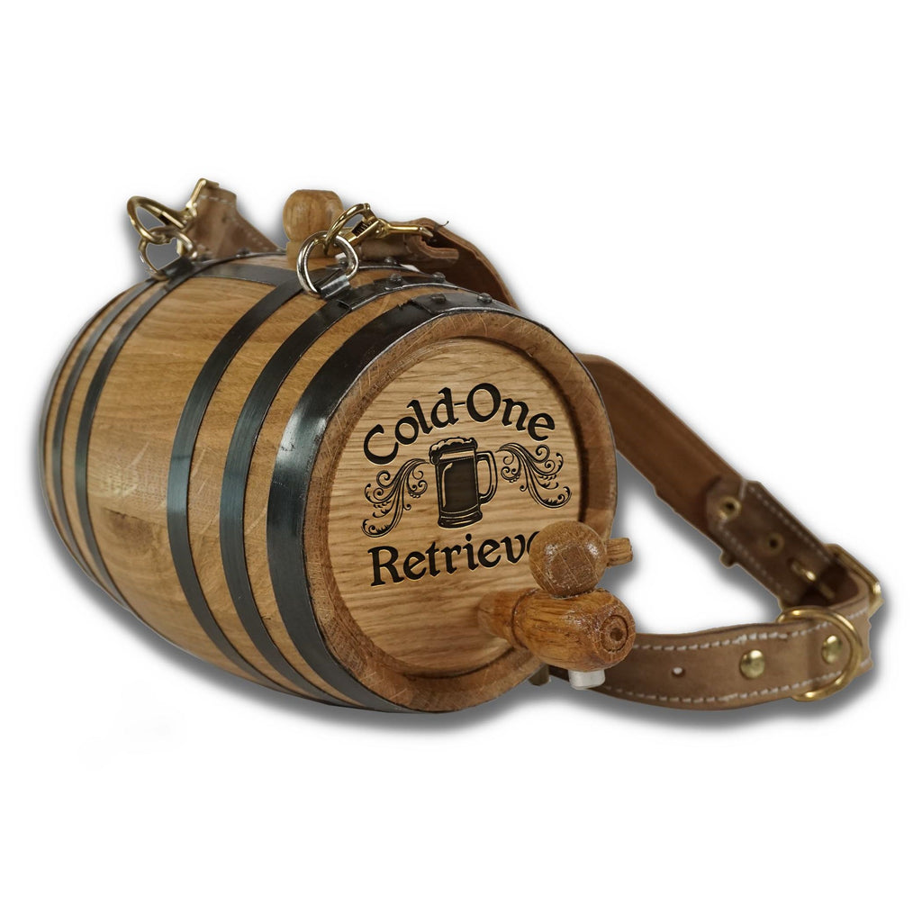 St. Bernard Dog Wood Barrel with Collar