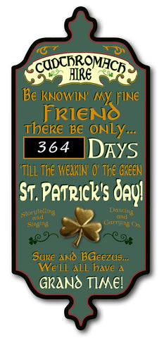 St. Patrick's Day Countdown - Personalized Dubliner Wood Sign