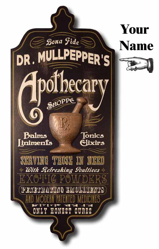 Apothecary - Personalized Wood Plank Vintage Sign