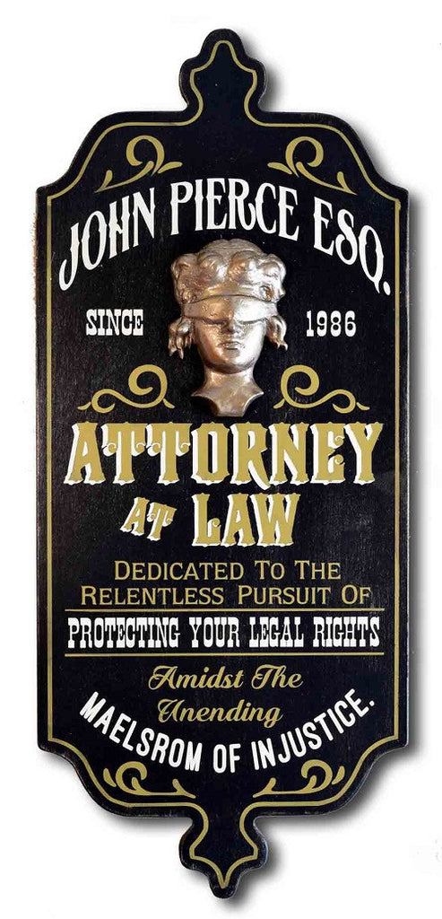 Attorney at Law - Personalized Dubliner Wood Sign - Rion Douglas Gifts - 1