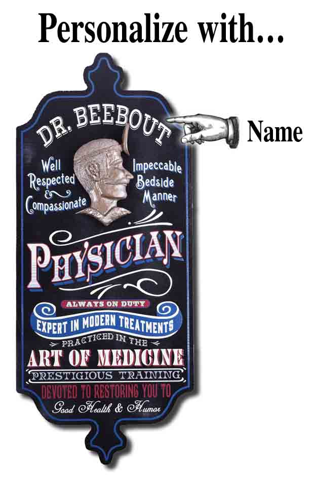 Physician - Personalized Doctor Vintage Wood Plank Sign