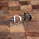 "Initials ""A-Z"" Personalized Polished Stainless Steel Men's Classic Cuff Link Cufflink with Wood Box - Rion Douglas Gifts - 6"
