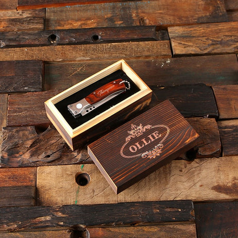 Personalized Pocket Knife – Dagger with Optional Wood Box