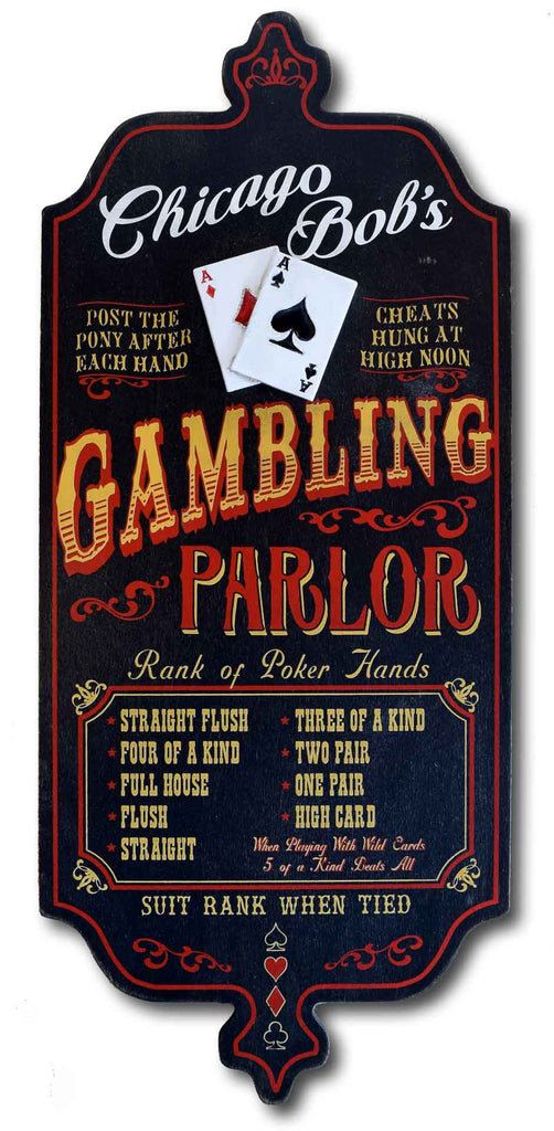 Gambling Parlor - Personalized Vintage Wood Plank Sign
