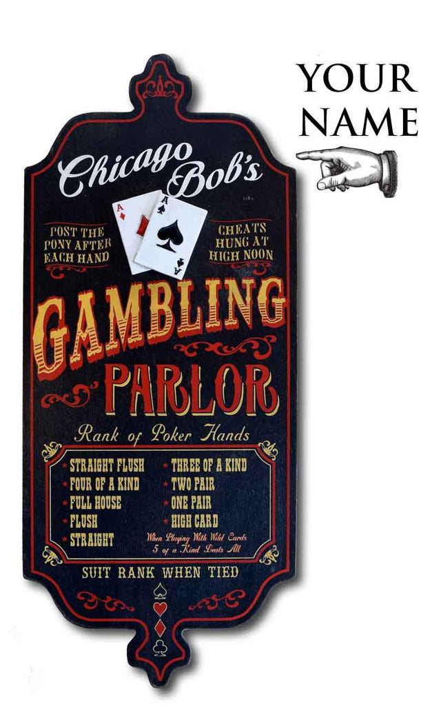 Casino Gambling - Personalized Vintage Wood Plank Sign