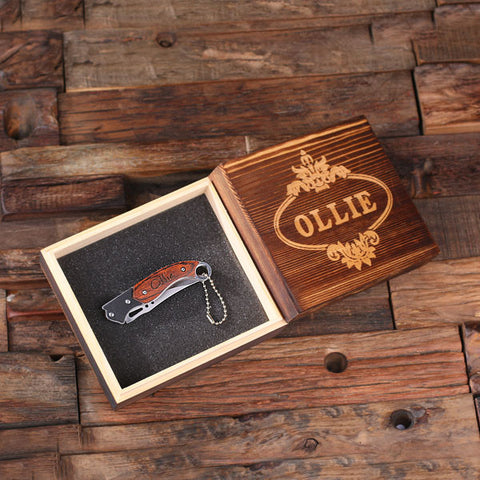 Nifty Designed Pocket Knife w/Wooden Box - Rion Douglas Gifts - 1
