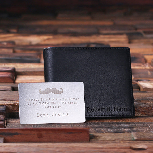 Monogrammed Engraved Genuine Leather Bifold Mens Wallet with Wallet Card and Wood Box - Rion Douglas Gifts - 2