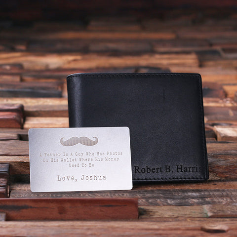 bc908feb3478 ... Monogrammed Engraved Genuine Leather Bifold Mens Wallet with Wallet  Card and Wood Box - Rion Douglas ...