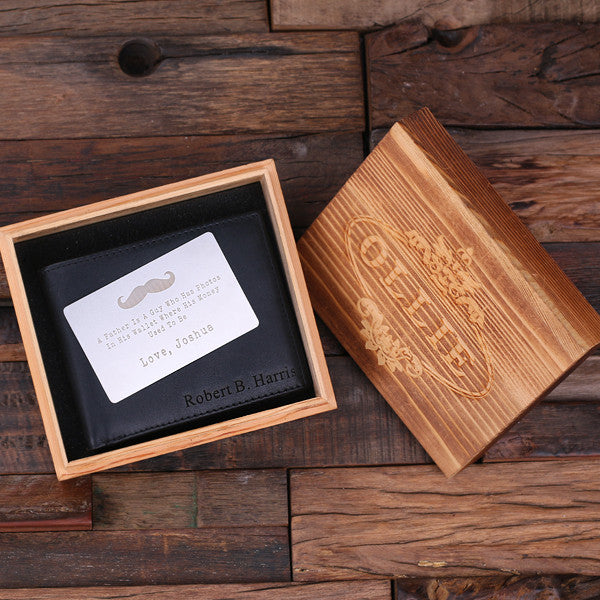 Monogrammed Engraved Genuine Leather Bifold Mens Wallet with Wallet Card and Wood Box - Rion Douglas Gifts - 1