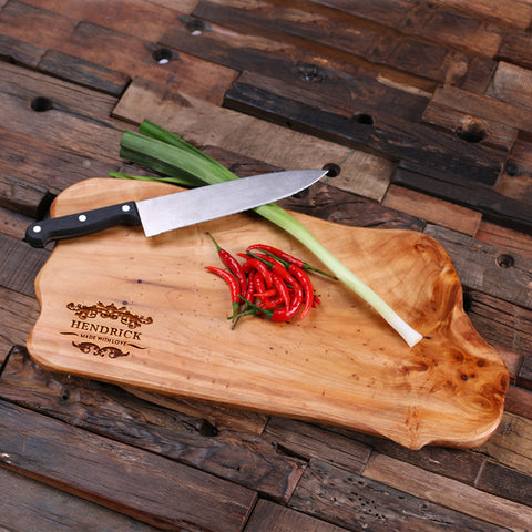 A Personalized Reclaimed Cedar Wood Cutting Chopping Board - Rion Douglas Gifts - 1