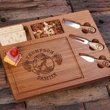 A Bamboo Wood Cutting Bread Cheese Serving Tray Board with Tools – C - Rion Douglas Gifts - 2
