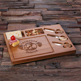 A Bamboo Wood Cutting Bread Cheese Serving Tray Board with Tools – C - Rion Douglas Gifts - 3