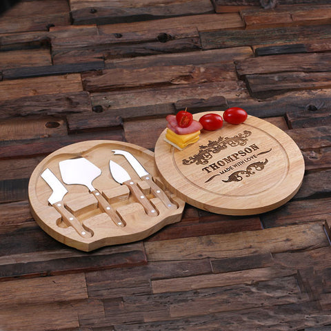 A Bamboo Wood Cutting Bread Cheese Serving Tray Board with Tools – A - Rion Douglas Gifts - 1