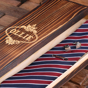Personalized Red, White, and Blue Striped Tie Set, Cuff Links, Tie Clip, Wood Gift Box - Rion Douglas Gifts - 4