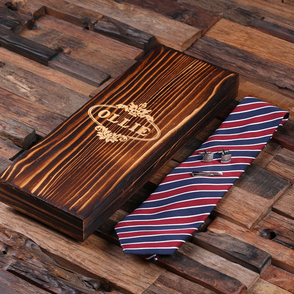 Personalized Red, White, and Blue Striped Tie Set, Cuff Links, Tie Clip, Wood Gift Box - Rion Douglas Gifts - 3