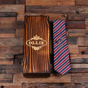 Personalized Red, White, and Blue Striped Tie Set, Cuff Links, Tie Clip, Wood Gift Box - Rion Douglas Gifts - 2