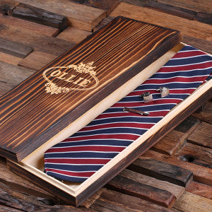 Personalized Red, White, and Blue Striped Tie Set, Cuff Links, Tie Clip, Wood Gift Box - Rion Douglas Gifts - 1