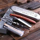 Personalized Straight Razor Blade, Wood Comb, Scissors & Sharpening Stone - Rion Douglas Gifts - 4