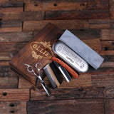 Personalized Straight Razor Blade, Wood Comb, Scissors & Sharpening Stone - Rion Douglas Gifts - 1