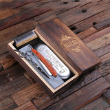 Personalized Straight Razor Blade, Wood Comb, Scissors & Sharpening Stone - Rion Douglas Gifts - 5